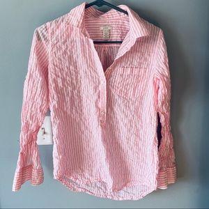 J. Crew Pink striped button-down shirt